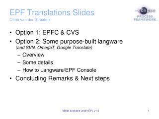 EPF Translations Slides Onno  van  der Straaten