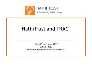 HathiTrust  and TRAC