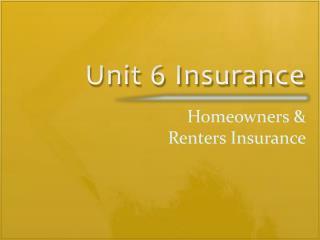 Unit 6 Insurance