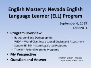English Mastery: Nevada English Language Learner (ELL) Program