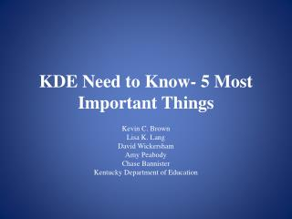 KDE Need to Know- 5 Most Important Things