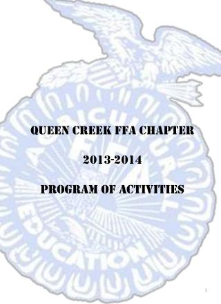 Queen Creek FFA Chapter 2013-2014 Program of Activities