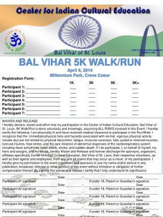 BAL VIHAR  5K  WALK/RUN April 6, 2014 Millennium Park, Creve Coeur