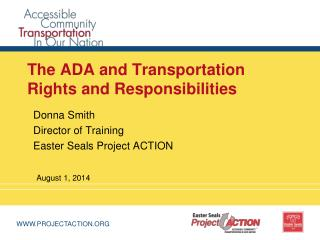The ADA and Transportation Rights and Responsibilities