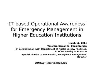 IT-based Operational Awareness for Emergency Management in Higher Education Institutions