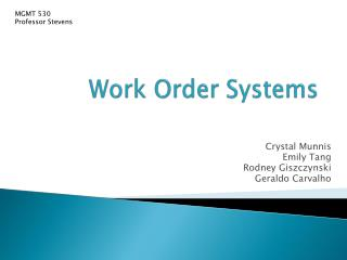 Work Order Systems
