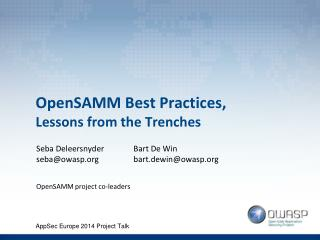 OpenSAMM Best Practices, Lessons from the Trenches