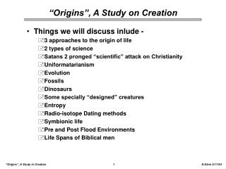origins , a study on creation