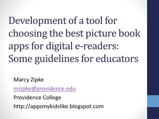 Development of a tool for choosing the best picture book apps for digital  e -readers:  Some guidelines  for educators