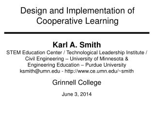 Design and Implementation of Cooperative Learning