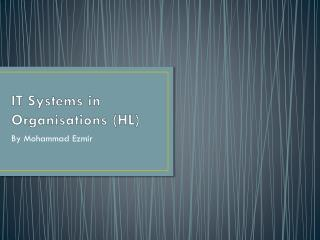 IT Systems in Organisations (HL)