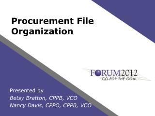 Procurement File Organization