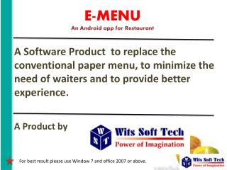 E-MENU An Android app for Restaurant