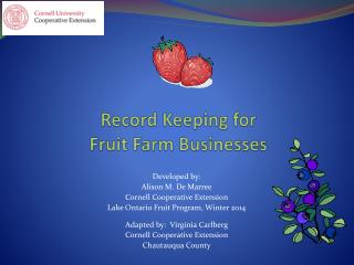 Record Keeping  for  Fruit  Farm Businesses