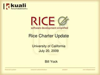 Rice Charter Update University of California July 20, 2009