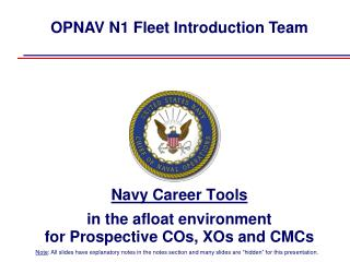 Navy Career Tools  in the afloat environment for Prospective COs, XOs and CMCs