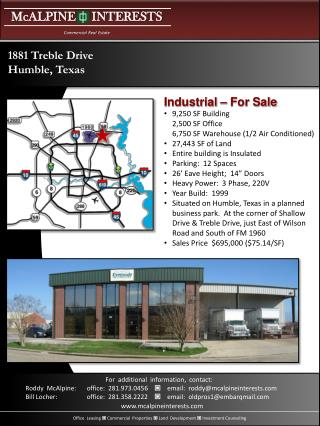 9,250 SF Building 2,500 SF Office 6,750 SF Warehouse (1/2 Air Conditioned) 27,443 SF of Land Entire building is Insulat