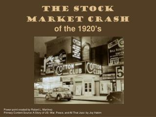 The Stock Market Crash of the 1920's