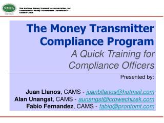 the money transmitter compliance program a quick train