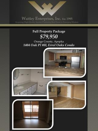 Full Property Package $79,950 Orange County, Apopka 1404 Oak Pl #H, Errol Oaks Condo