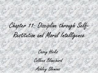 chapter 11: discipline through self-restitution and moral intelligence