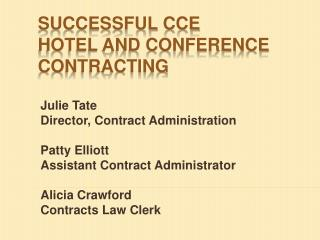 Successful CCE  Hotel and Conference Contracting