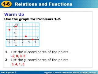 Warm Up Use the graph for Problems 1–2 .