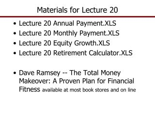 Materials for Lecture 20
