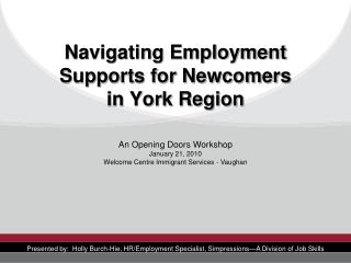 Navigating Employment Supports for Newcomers in York Region