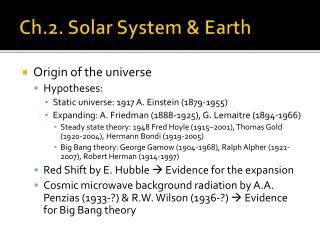 Ch.2. Solar System & Earth
