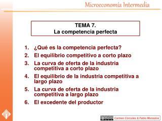 ¿Qué es la competencia perfecta? El equilibrio competitivo a corto plazo La curva de oferta de la industria competitiva