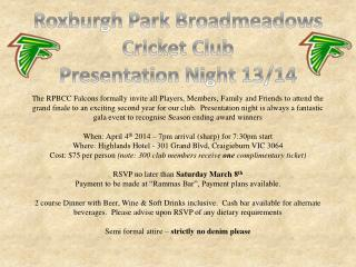 Roxburgh  Park  Broadmeadows Cricket Club Presentation Night 13/14