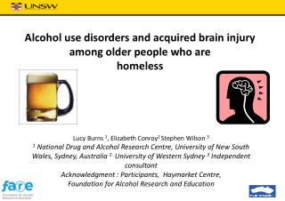 Alcohol use disorders and acquired brain injury among older people who are homeless