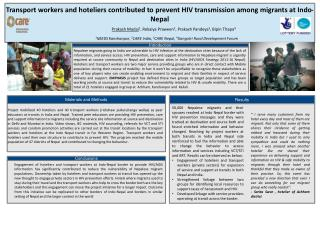 Transport workers and hoteliers contributed to prevent HIV transmission among migrants at Indo-Nepal