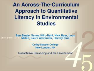 An Across-The-Curriculum Approach to Quantitative Literacy in Environmental  Studies