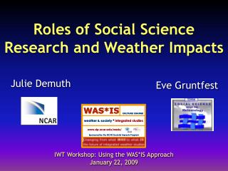 Roles of Social Science  Research and Weather Impacts