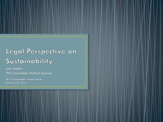 Legal Perspective on Sustainability