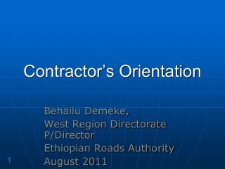 Contractor's Orientation