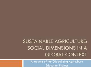 Sustainable agriculture: Social dimensions in a global context