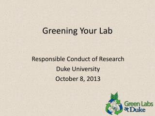 Greening Your Lab