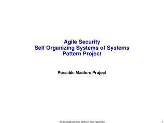 Agile Security Self Organizing Systems of Systems Pattern Project