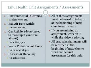 Env . Health Unit Assignments / Assessments