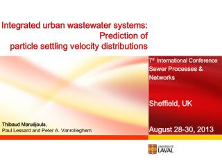 Integrated urban wastewater systems :  Prediction  of  particle settling velocity  distributions
