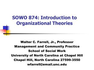SOWO 874: Introduction to Organizational Theories