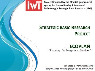 Strategic basic Research Project  ECOPLAN
