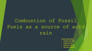 Combustion of Fossil Fuels as a source of acid rain