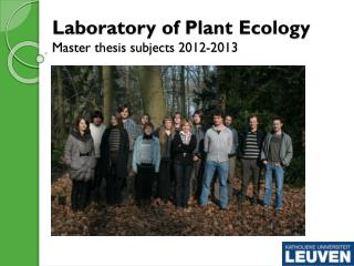 Laboratory of Plant Ecology Master thesis subjects 2012-2013