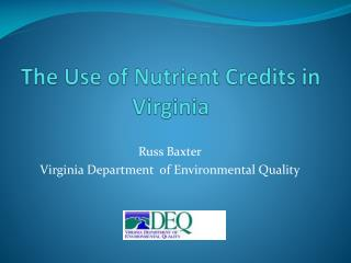 The Use of Nutrient Credits in Virginia