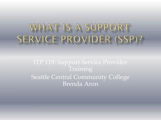 What is a Support Service Provider (SSP)?
