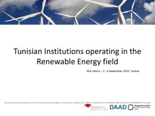 Tunisian Institutions operating in the Renewable Energy field